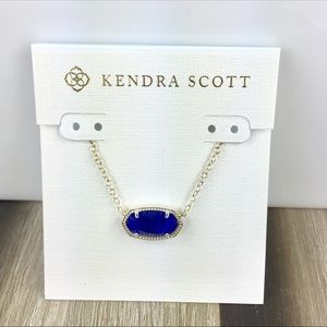 Kendra Scott Elisa cobalt blue gold necklace